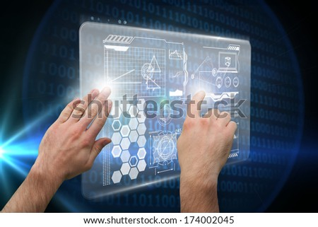Hands pointing and presenting against glowing binary code on black background