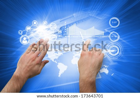 Hands pointing and presenting against shiny background with squares