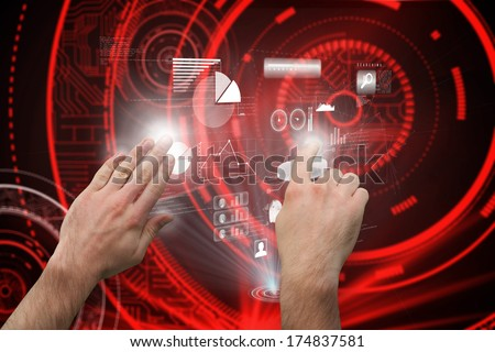 Hands pointing and presenting against shiny red circles on black background