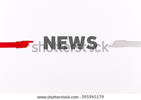 Hands pointing NEWS word - stock photo