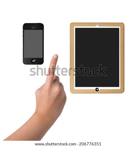 hands pointing on Smart Phone and tablet computer Isolated on white  - stock photo