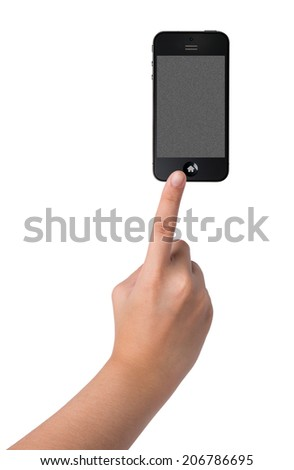 hands pointing on Smart Phone Isolated on white  - stock photo