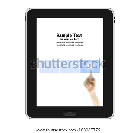 Hands pointing to tablet PC with blue touch screen button isolated on white background