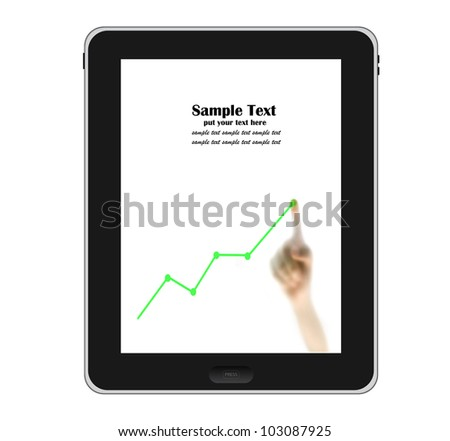 Hands pointing to tablet PC with chart on screen isolated on white background - stock photo