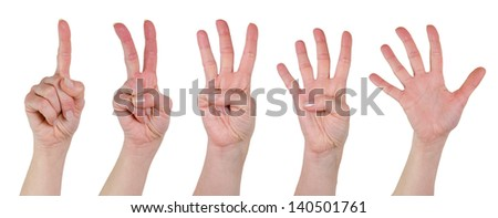 hands poses numbers - stock photo