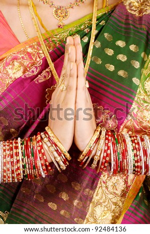 Hands Positioned as in Prayer - stock photo