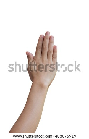 Hands praying isolated on white background. A symbolic representation. clipping path - stock photo