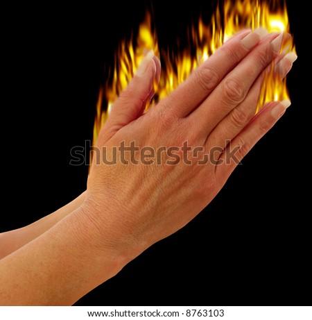 Hands praying showing the holy spirit metaphor, - stock photo
