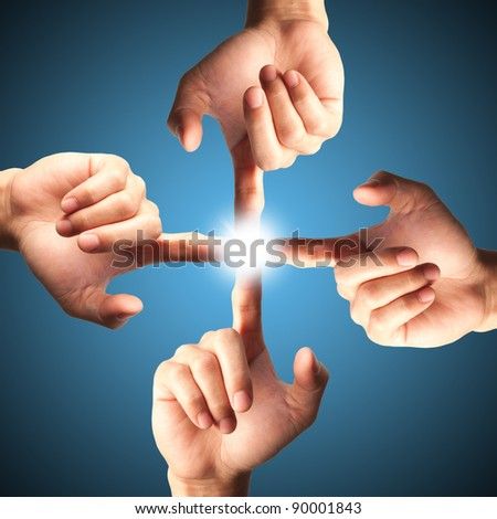 Hands pressing one of interface,technology icon - stock photo