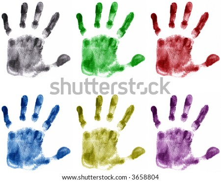 Hands Print (very detailed, color) - stock photo