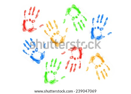 Hands prints of different colors isolated on white background  - stock photo