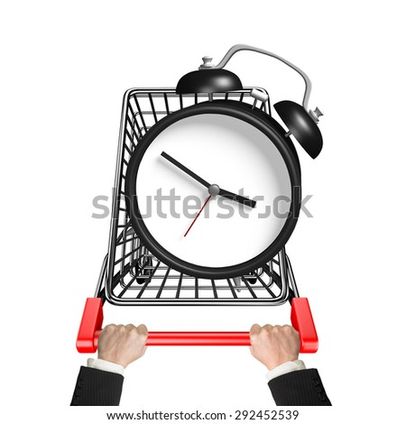 Hands pushing shopping cart with alarm clock, high angle view, isolated on white. - stock photo
