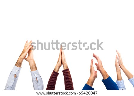 Hands Raised Up Clapping on White Background - stock photo