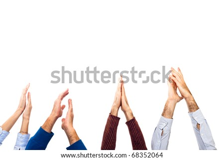 Hands Raised Up Clapping on White Background