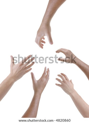 Hands reached out pleading for help - stock photo