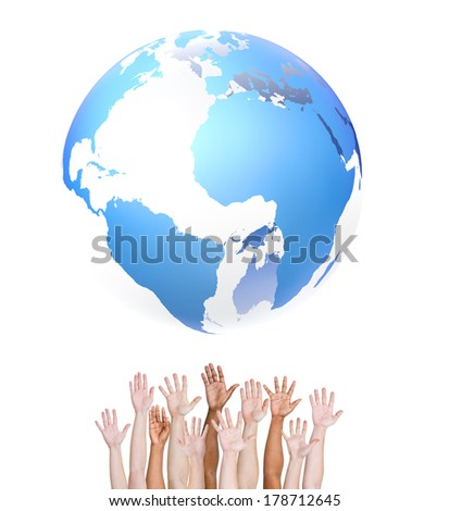 Hands Reaching for the World - stock photo