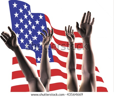 Hands reaching infront of the American Flag.