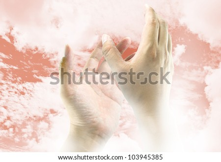 Hands reaching to the sky, the image ideas for spiritual concept - stock photo