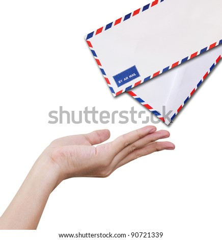 Hands receiving letter, isolated on white background