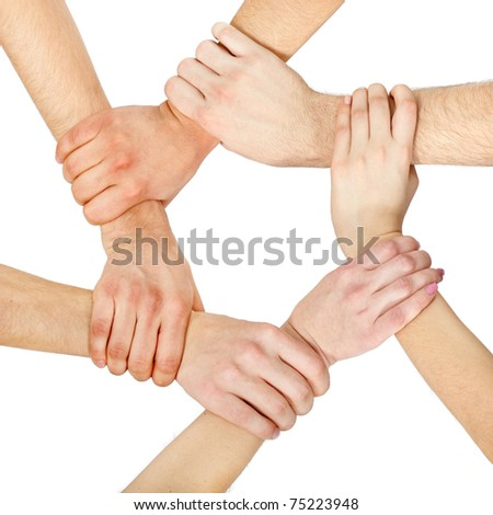 hands ring teamwork isolated on white background - stock photo