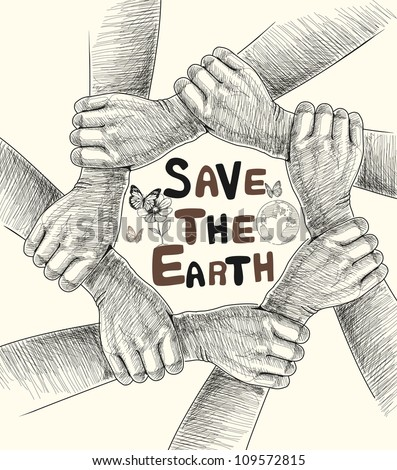 Hands Save The Earth Drawing Conceptual. - stock photo