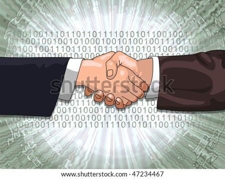 Hands shaking with binary code background - stock photo