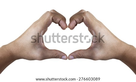 Hands shaping a heart symbol on white background - stock photo