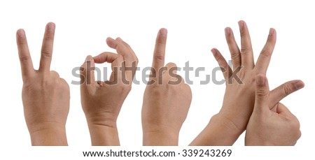 Hands show sign of year 2016 on white background.