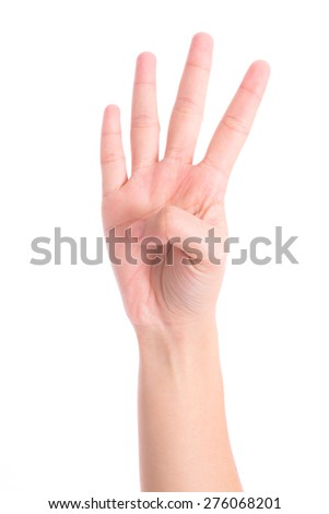 hands show the number four - stock photo