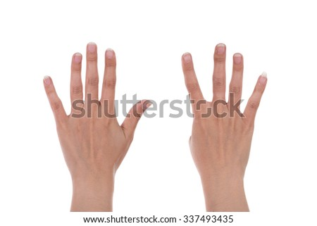 hands show the number nine isolated on white background - stock photo
