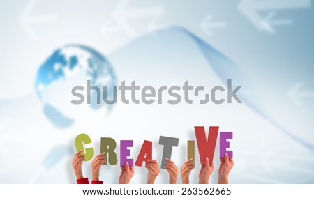 hands showing creative against global business graphic in blue