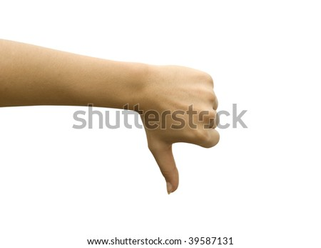 hands showing down isolated on a white background