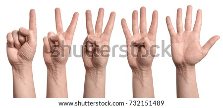 Hands showing number signs from 1 to 5, isolated on white background
