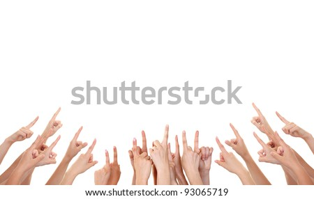 Hands showing product isolated - stock photo