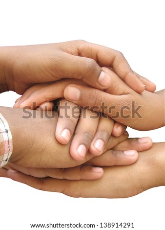 Hands showing their power of unity - stock photo