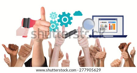 Hands showing thumbs up against business graphics - stock photo