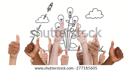 Hands showing thumbs up against idea and innovation graphic - stock photo