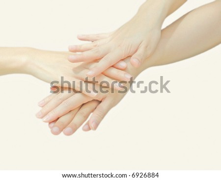Hands sign of cooperation on white background - stock photo