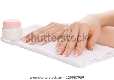Hands spa, still in the cabin for the care of hands. Isolated on white background - stock photo