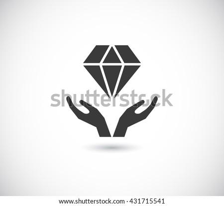 hands support diamond - black web icon - stock photo