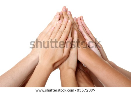 Hands teamwork - stock photo