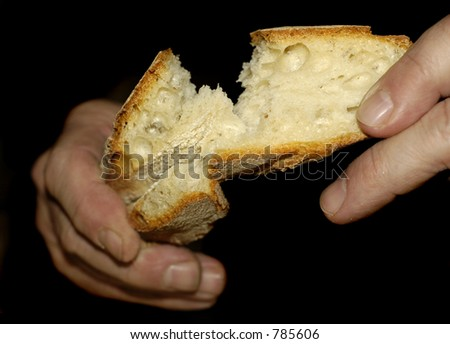 Hands tear at a piece of sourdough bread (Hands soft focus) - stock photo