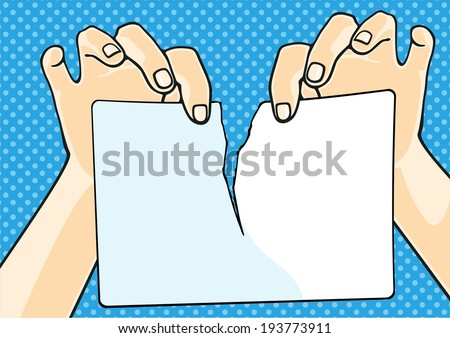 Hands tearing paper (raster version) - stock photo