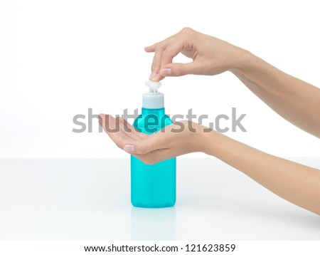 hands that are to be disinfected with soap lichidhands that - stock photo