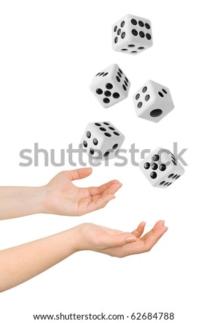 Hands throwing big dices isolated on white background - stock photo