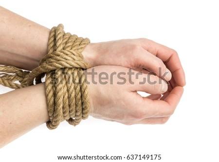 Bondage wrist tied palm to palm