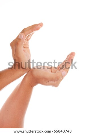 Hands to receiving something  over white background - stock photo