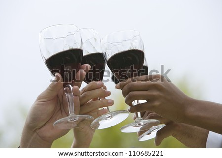 Hands toasting red wine - stock photo