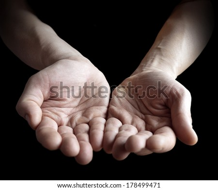 hands together on black.  - stock photo