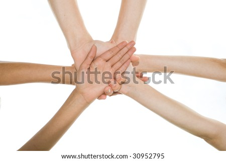 hands together, picture taken from below